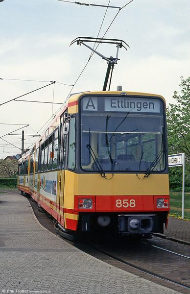 Car 858 at Neureut/Kirchfeld on 22nd April 1993.
