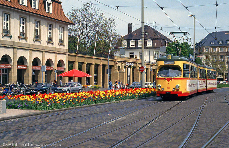 Car 206 with matching flowers at the Hauptbahnhof on 22nd April 1993.