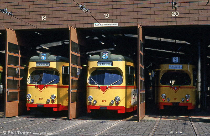 Cars 170 and 166 at Tullastrasse Depot on 2nd August 1993.