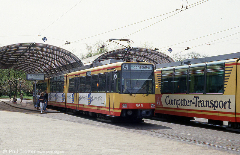 Car 856 with a panoramic centre car at Altbahnhof on 22nd April 1993. Built in 1989, the centre cars were added in 1990.