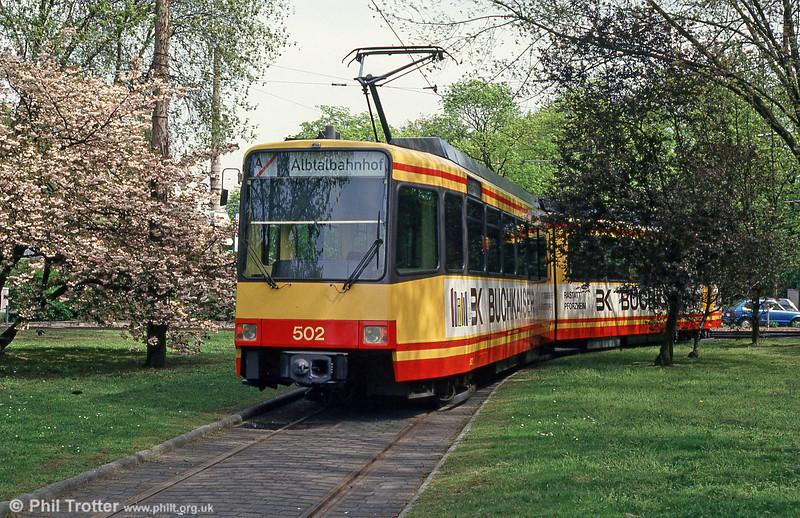 Karlsruhe 502 near the Albtalbahnhof on 22nd April 1993.
