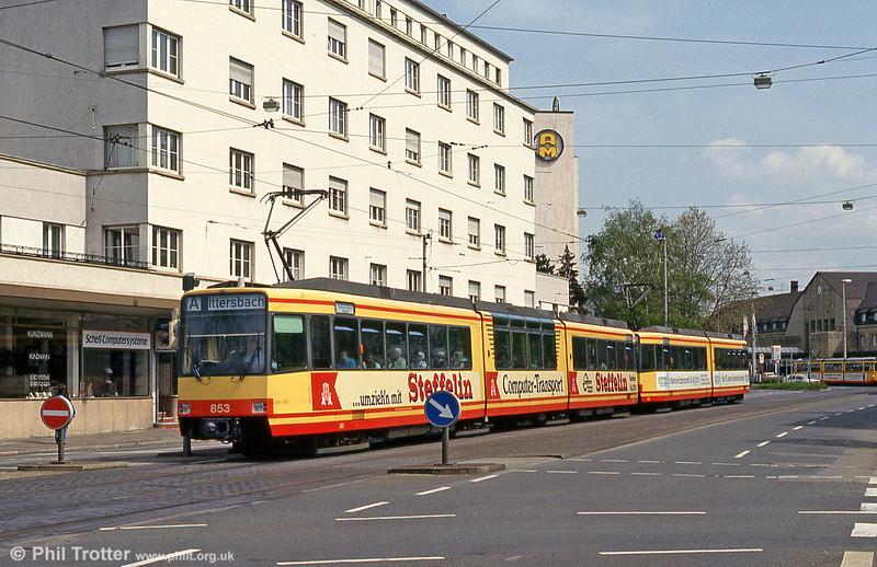 Car 853 near Altbahnhof on 22nd April 1993.