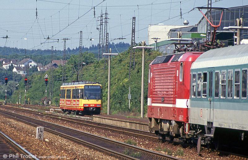 Light rail meets heavy rail! Car 805 at Bretten on 2nd August 1993.