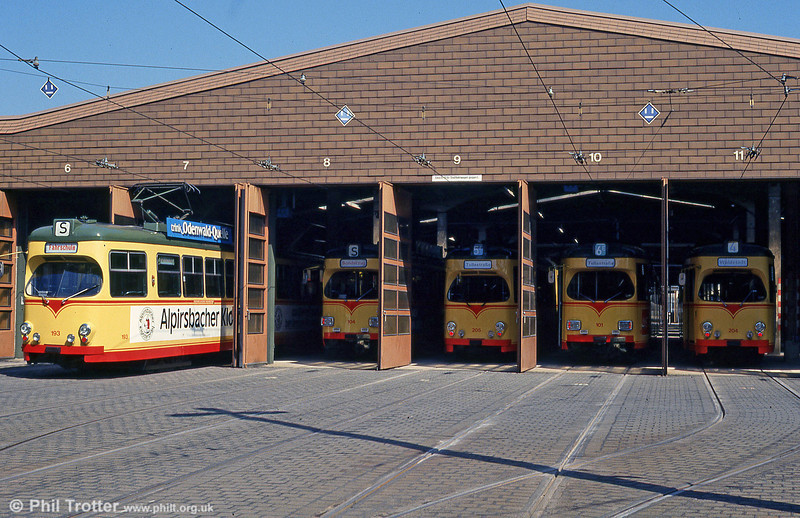 A line up at Tullastrasse Depot on 2nd August 1993.