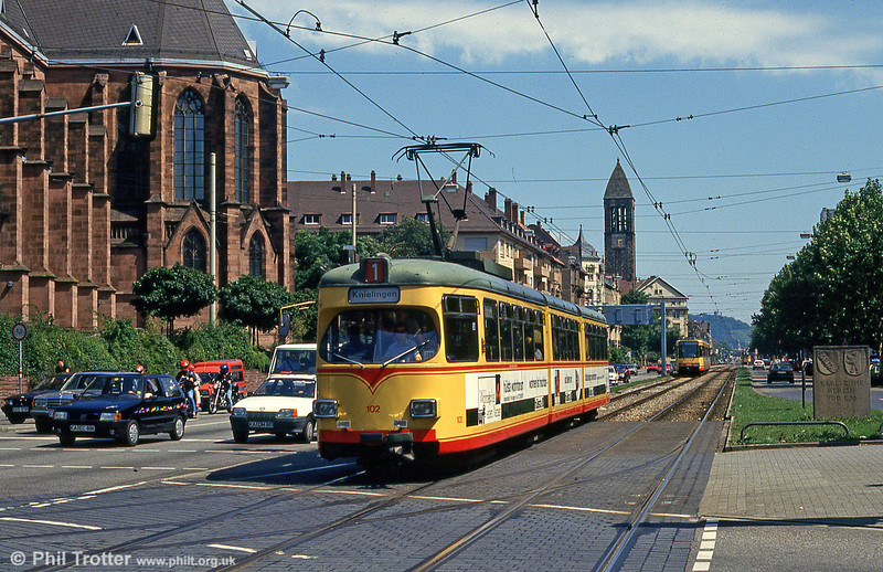 1958 Duewag car 102 at Durlacher Allee on 2nd August 1993.