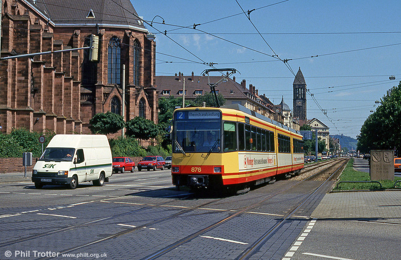 Car 876 at Durlacher Allee on 2nd August 1993.