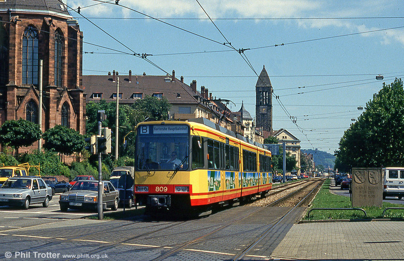 Car 809 at Durlacher Allee on 2nd August 1993.
