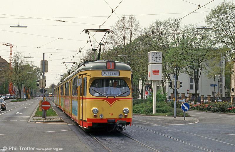 Karlsruhe 117 at Yorckstrasse on 22nd April 1993.