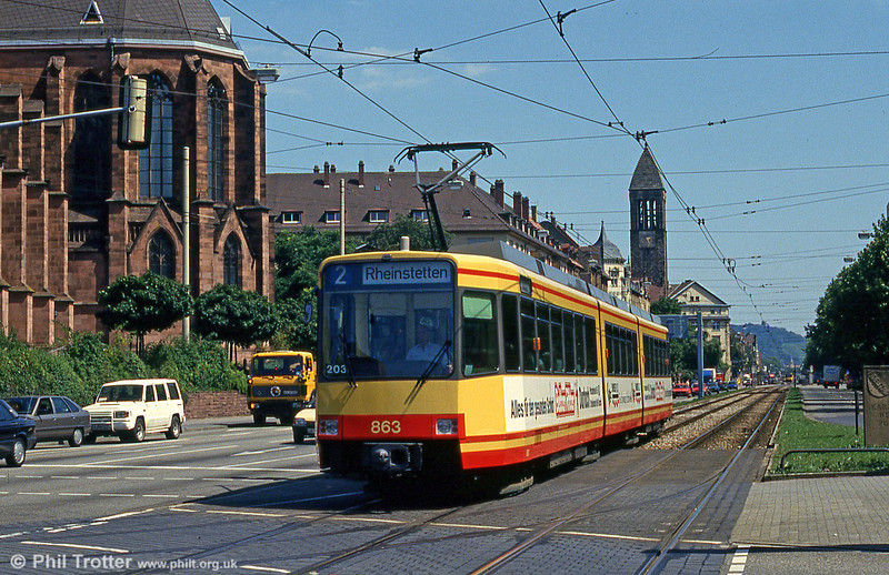 Car 863 at Durlacher Allee on 2nd August 1993.