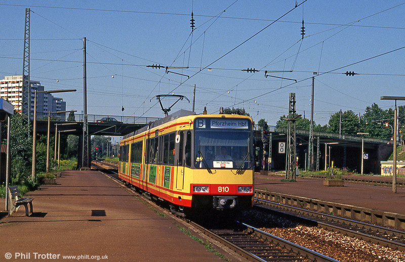 A tram on the railway! Car 810 at Durlach DB station, heading for Pforzheim on 2nd August 1993.