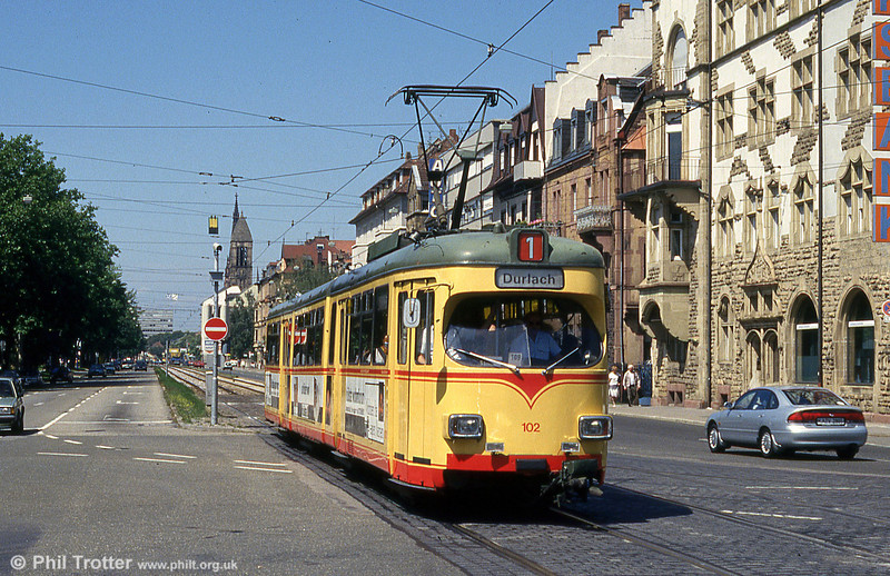 Car 102 at Tullastrasse on 2nd August 1993.