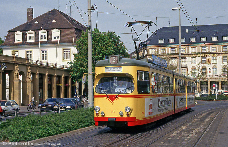 Car 184 at the Hauptbahnhof on 22nd April 1993.