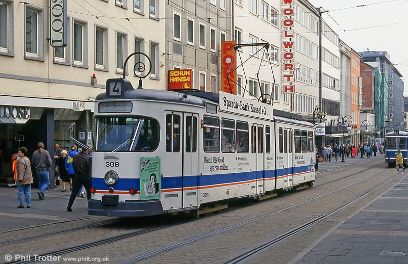 Car 308 at Rathaus on 10th April 1993.
