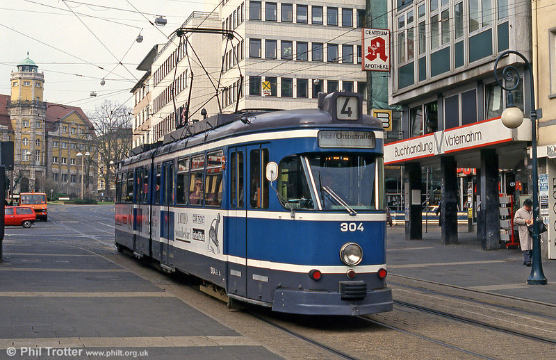 Kassel Wegmann car 304 of 1966 at the Rathaus on 10th April 1993.