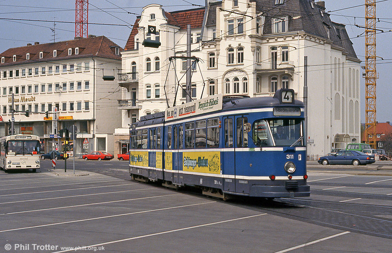 Kassel 311 at Bahnhof Wilhelmshohe on 10th April 1993. 311, along with several sister cars, was later sold to Gorzów.