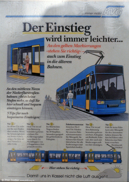 Poster illustrating how to use the new low floor cars at Kassel in 1993.