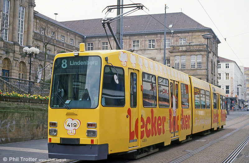 Car 419 outside Kassel Rathaus on 10th April 1993.