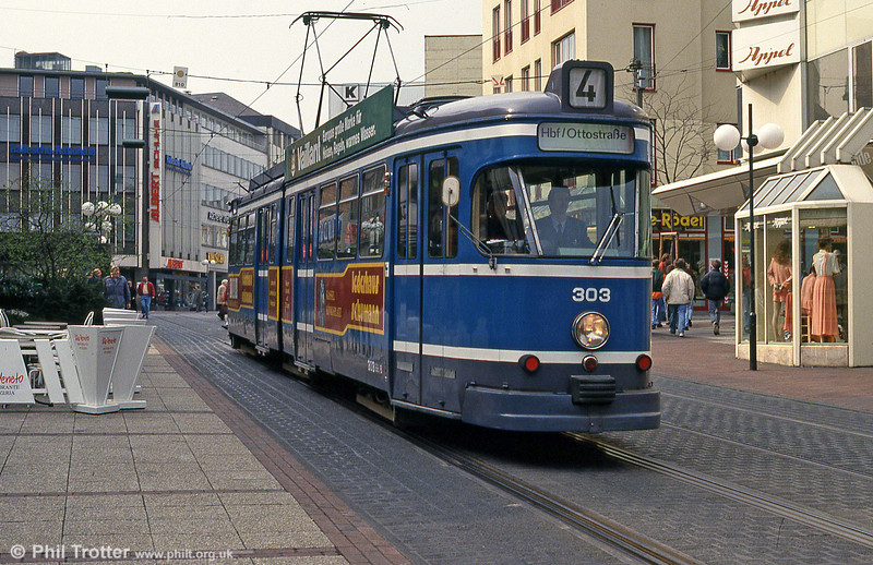 Kassel Wegmann car 303 at Am Stern on 10th April 1993.