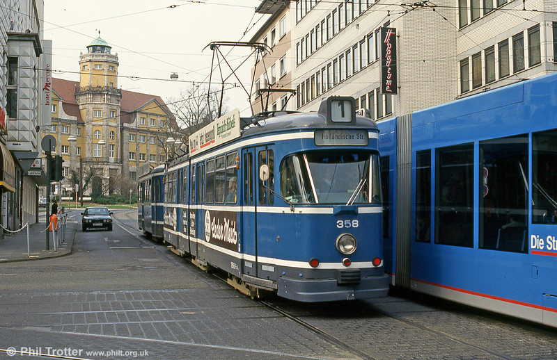 Car 358 at Rathaus on 10th April 1993.