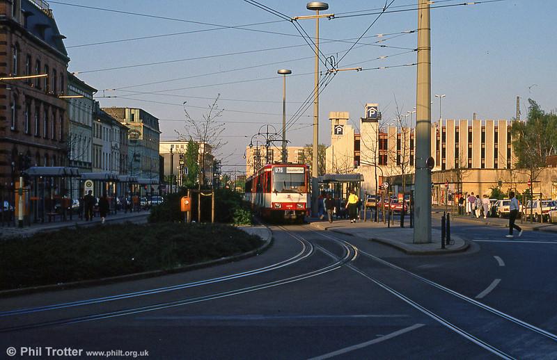 Dusseldorf 4228 waits to depart from Krefeld with interurban light rail service U76.