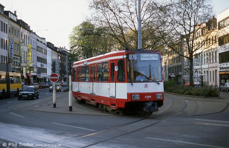 Seen in Krefeld is Dusseldorf 4268, a Duewag AM6 working on interurban light rail line U76 to Dusseldorf.