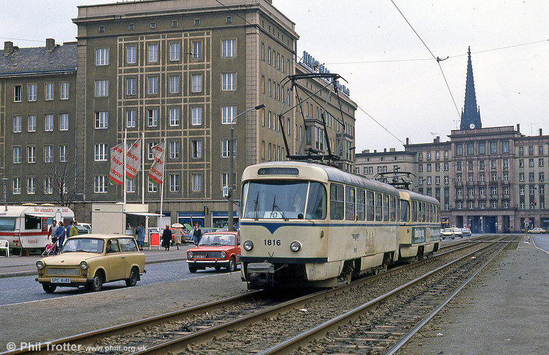 Leipzig Tatra T4D 1816 at Possplatz on 5th April 1991.