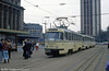 Leipzig Tatra T4D 2054 in front of the Hauptbahnhof on 5th April 1991.