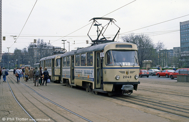 Leipzig Tatra T4D 2049 in front of the Hauptbahnhof on 5th April 1991.