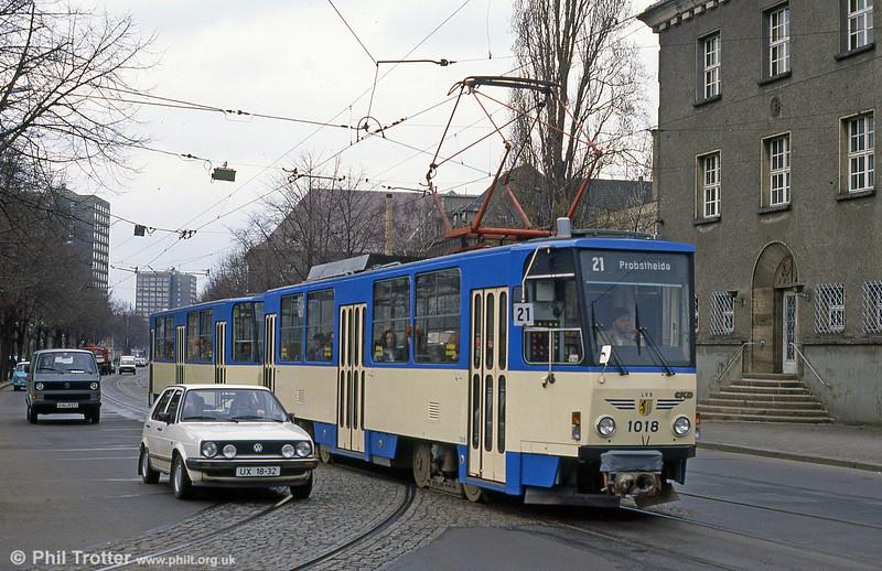 Leipzig Tatra T6A2 1018 at Messegelande on 5th April 1991.