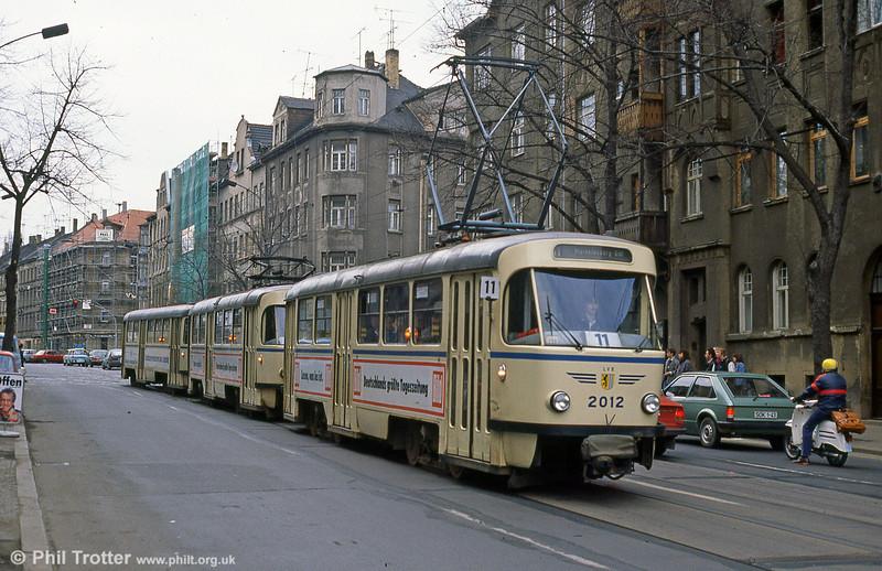 Leipzig Tatra T4D  2012  at Georg-Schumann-Straße on 5th April 1991.