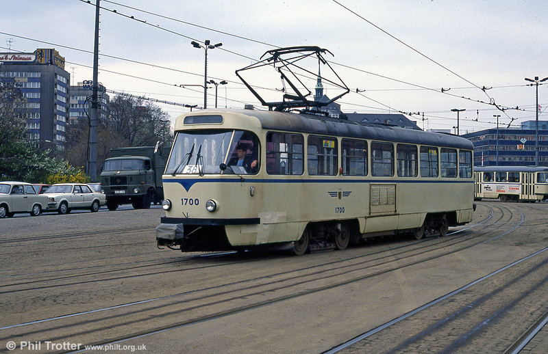 Leipzig Tatra T4D 1700 in front of the Hauptbahnhof on 5th April 1991.