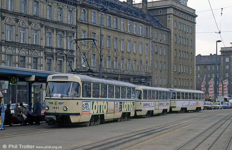 Leipzig Tatra T4D 1961 at Possplatz on 5th April 1991.