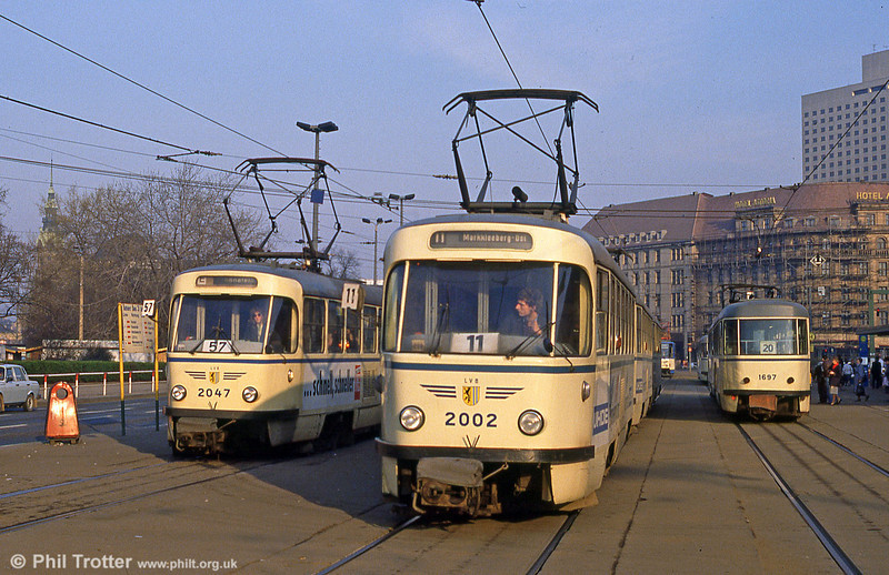 Leipzig Tatra T4Ds  2002 and 2047 in front of the Hauptbahnhof on 5th April 1991.