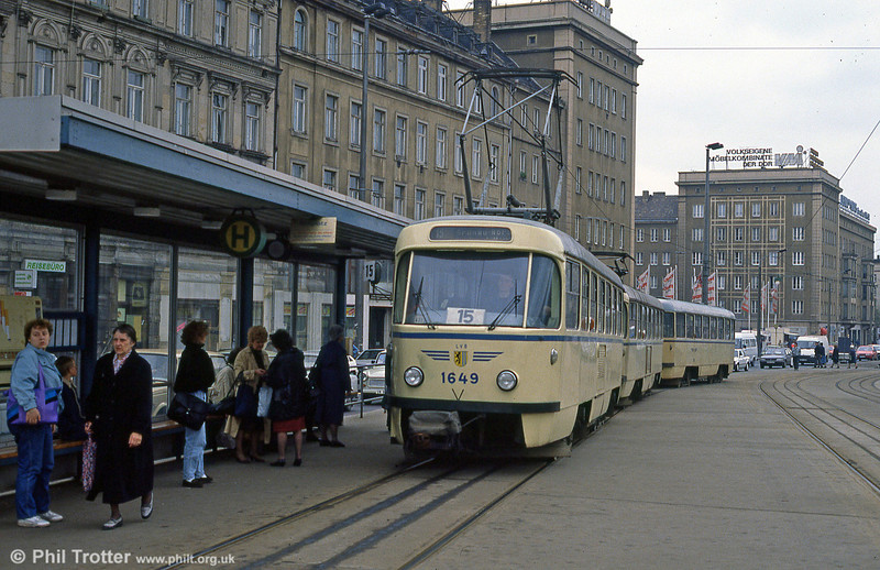 Leipzig Tatra T4D 1649 in front of the Hauptbahnhof on 5th April 1991.