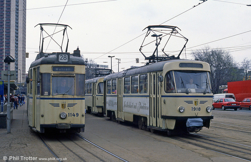 Leipzig Gotha 1149 and Tatra T4D 1918 in front of the Hauptbahnhof on 5th April 1991.