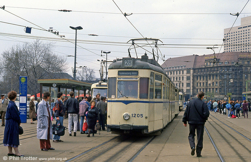 Leipzig Gotha 1205 in front of the Hauptbahnhof on 5th April 1991.