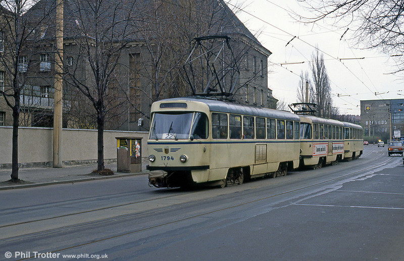 Leipzig Tatra T4D of 1976 at Messegelande on 5th April 1991.