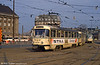 Leipzig Tatra T4D 2032 in front of the Hauptbahnhof on 5th April 1991.