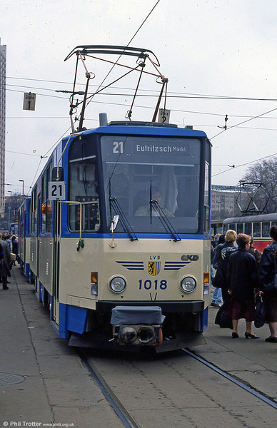 Leipzig Tatra T6A 1018 at the Hbf. on 5th April 1991. (first published in Light Rail & Modern Tramway, 10/91).