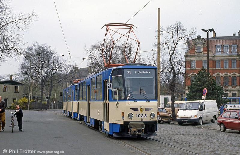 Leipzig Tatra T6A2 1028 at Georg-Schumann-Straße on 5th April 1991.