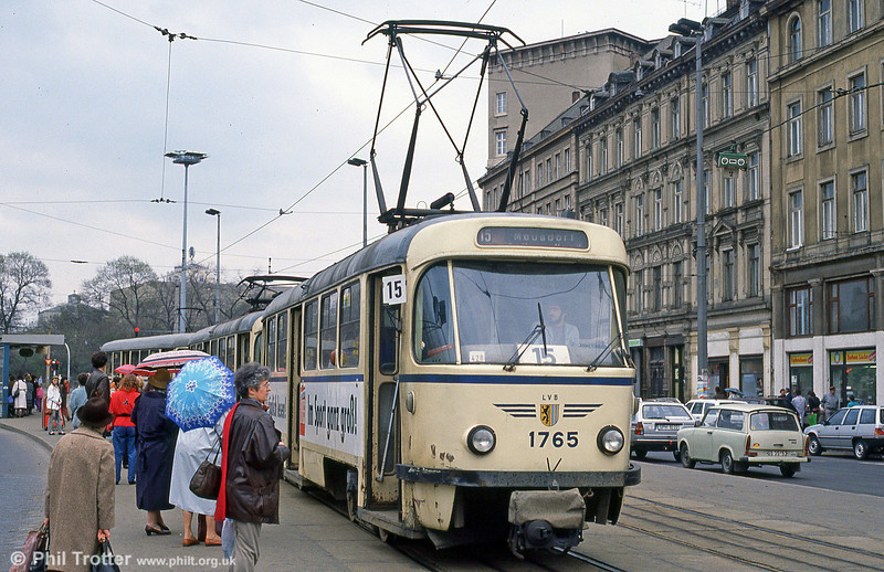 Leipzig Tatra T4D 1765 in front of the Hauptbahnhof on 5th April 1991.