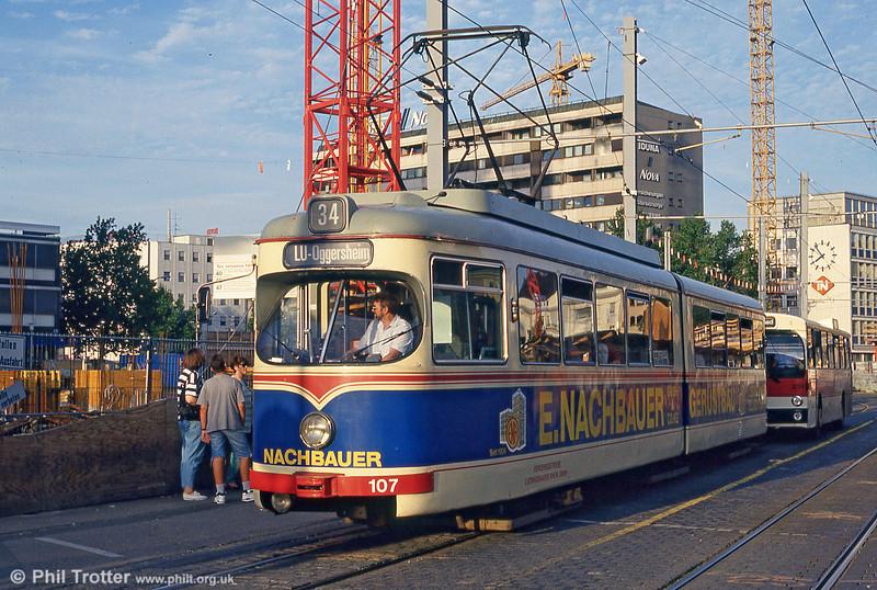 Ludwigshafen 107 at Mannheim Hauptbahnhof on 1st August 1993.