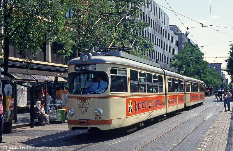 RHB 1015 in Mannheim Paradeplatz on 3rd April 1991.