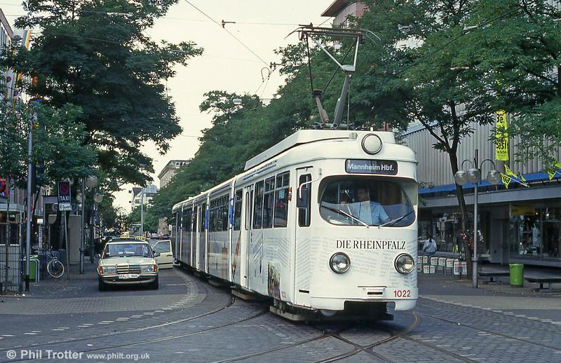 RHB 1022 in Mannheim Paradeplatz on 1st August 1993.