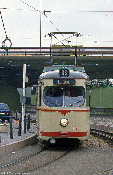 Ludwigshafen 131 at Berliner Platz on 3rd April 1991.