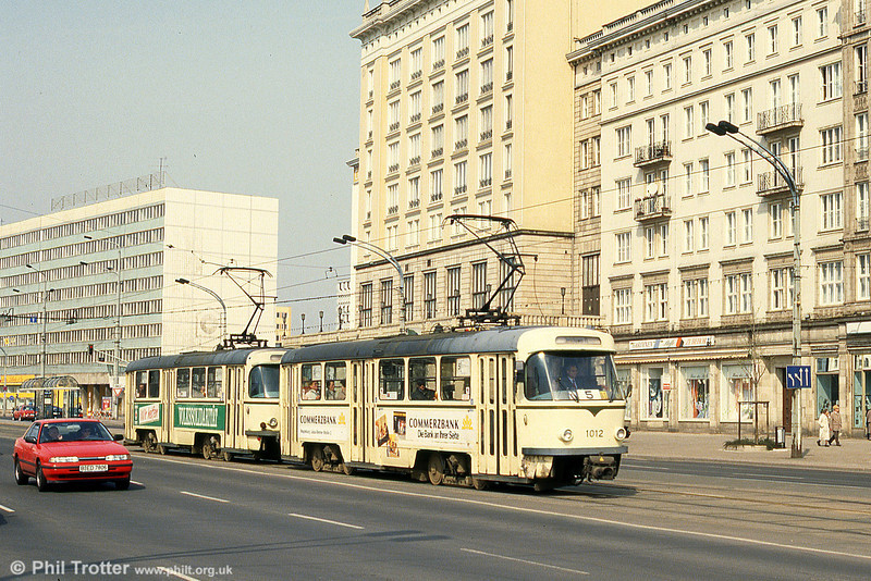 Magdeburg T4D 1012 near the Hauptbahnhof on 12th April 1993.
