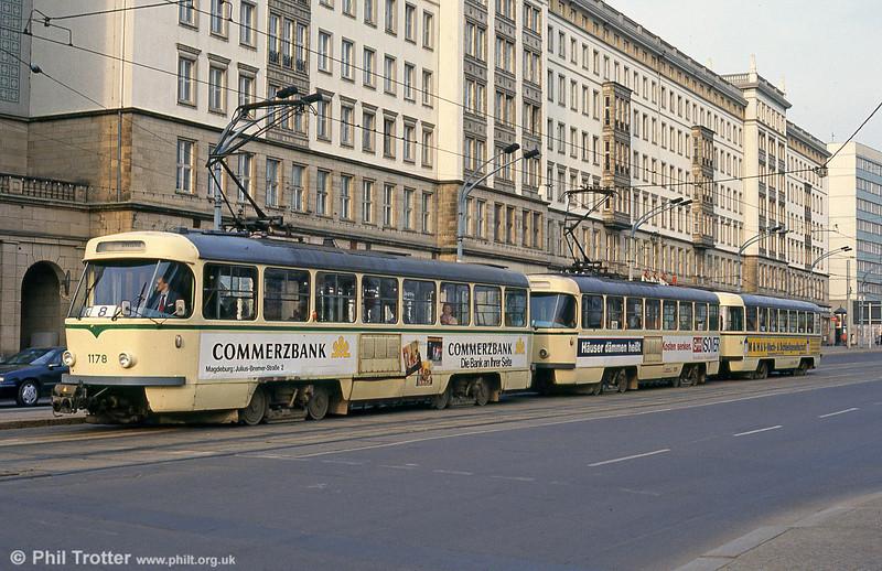 Magdeburg T4D 1178 near the Hauptbahnhof on 12th April 1993.