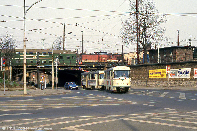 T4D 1119 near the Hauptbahnhof on 12th April, 1993.