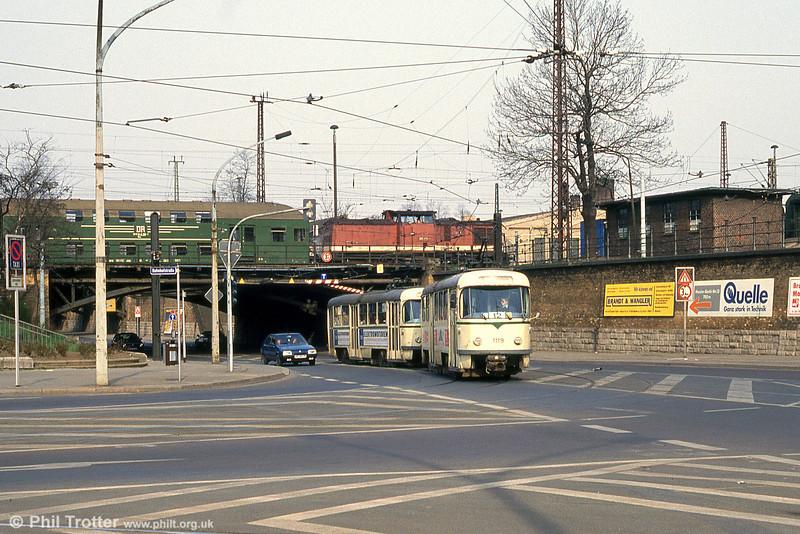 T4D 1119 near the Hauptbahnhof on 12th April, 1993.