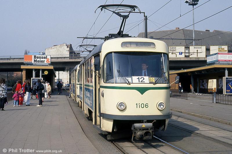 Magdeburg T4D 1106 at Damaschkeplatz on 12th April 1993.